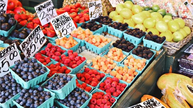 If you want to eat healthy on a budget, buy seasonal produce at farmers' markets.