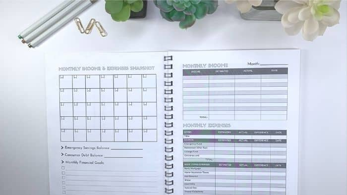 A GOOD MONTHLY BUDGET PLANNER INCLUDES SECTIONS SUCH AS A CALENDAR, ESTIMATED INCOME AND EXPENSES TRACKERS, AND DEBT TRACKERS.