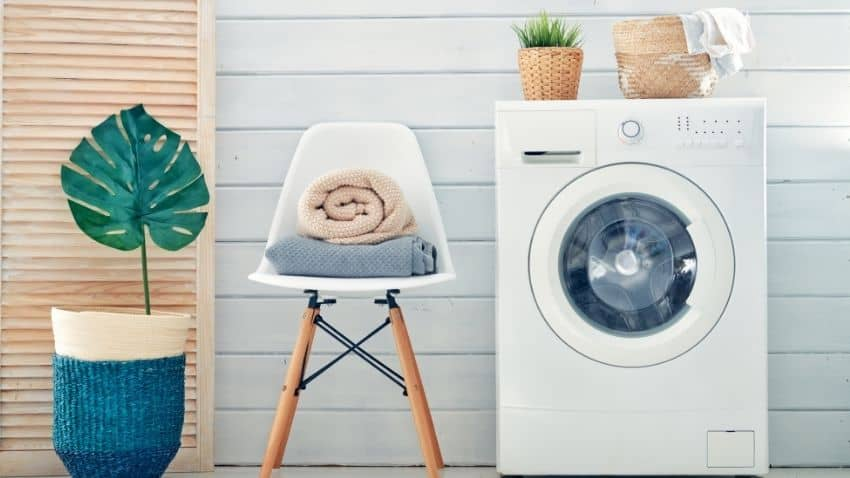 AVOID TURNING YOUR LAUNDRY ROOM INTO A STORAGE FACILITY BY CONSTANTLY PURGING UNMATCHED SOCKS, OLD DETERGENT, AND CLOTHES YOU DON'T NEED.